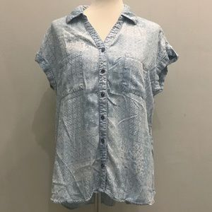 Style & Co Paisley Loose Top Blue and White Sz L